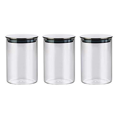 3 Barattoli di vetro con coperchio in Acciaio Inox per caramelle