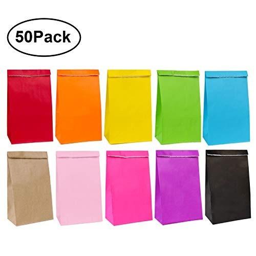 50 sacchetti di carta 13 x 8 x 24 cm multicolor