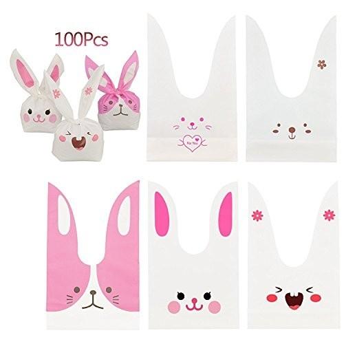 100 Sacchetti per caramelle Bunny orecchie coniglio