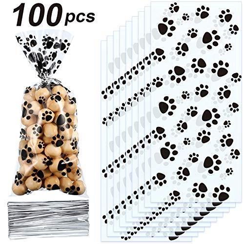 100 Sacchetti cono motivo zampa cagnolino