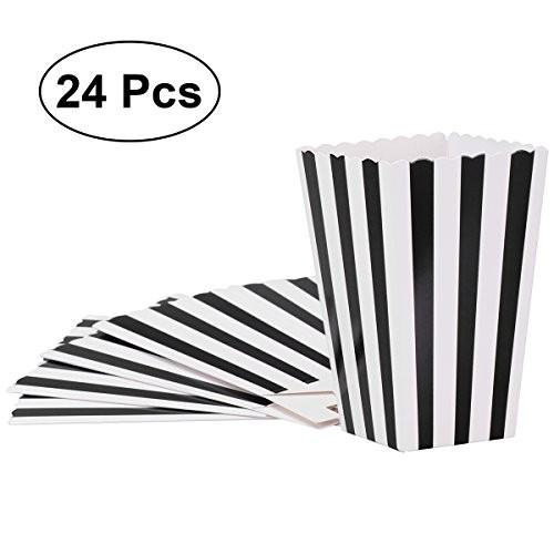 24 Scatole per caramelle strisce bianco e nere