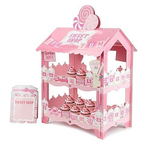 Espositore per dolci, casa rosa in cartoncino