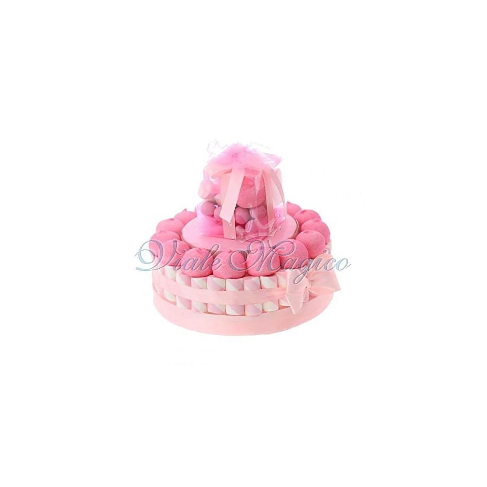Torta di caramelle Battesimo rosa
