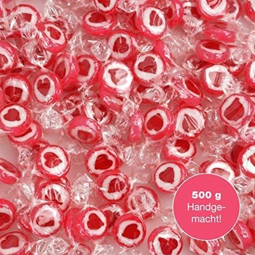 WeddingTree Caramelle Cuore Rosso - 500g Rocks Caramelle Matrimonio - Caramelle bomboniere per la Decorazione da tavola, per