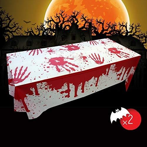Tovaglia Halloween con impronta mani sangue