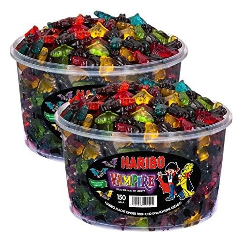 2 barattoli di caramelle liquirizia Vampiri Haribo