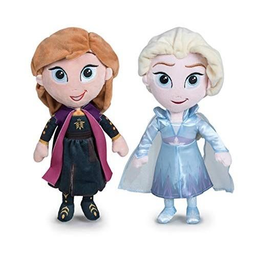 2 Peluches Principesse Frozen, Anna e Elsa da 30 cm