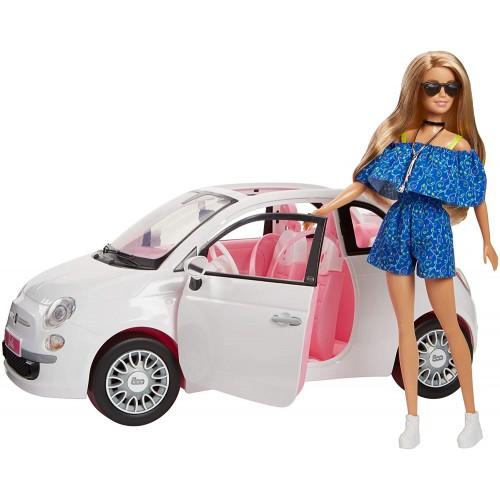 Modellino auto Fiat 500 con Barbie Mattel