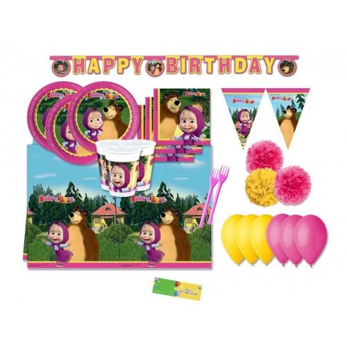 Kit compleanno 16 persone Masha e Orso con festoni