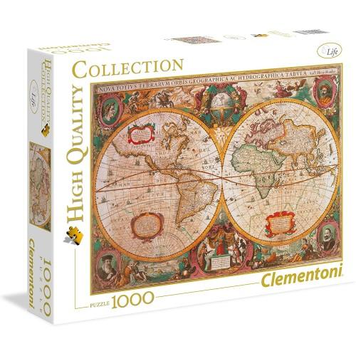 Puzzle mappa antica 1000 pezzi, Mappa mondo - Clementoni