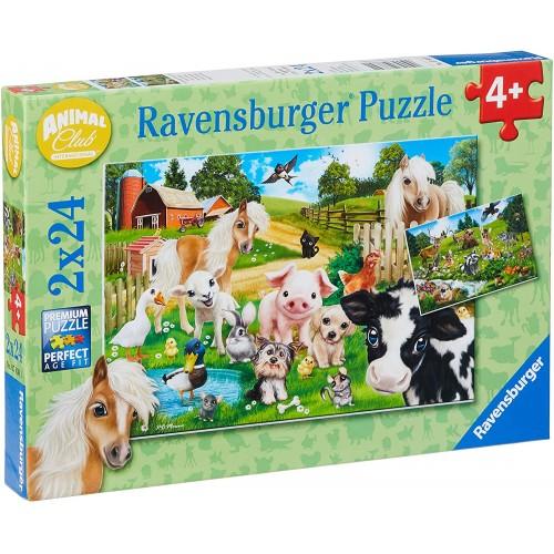 2 Puzzle animali della fattoria da 24 pezzi - Ravensburger