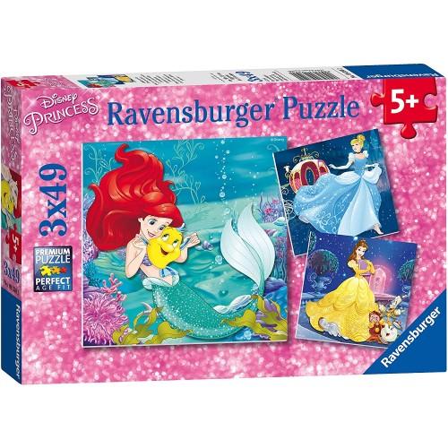 Set 3 Puzzle Le Avventure delle Principesse Disney da 49 pz
