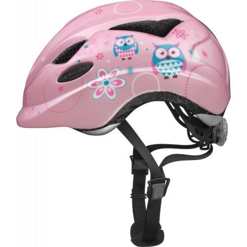 Casco bici bambina colore rosa con gufi 46-52 cm