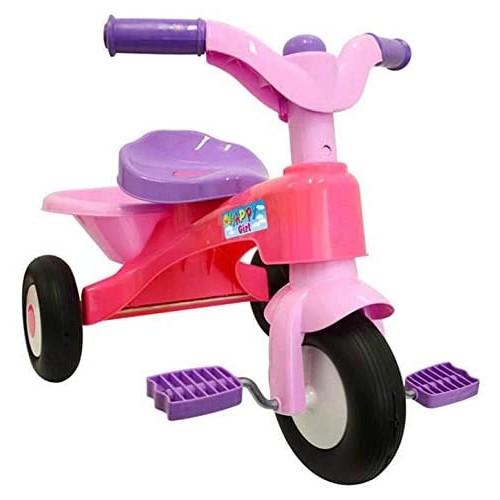 Triciclo con pedali e cestino Happy Girl rosa