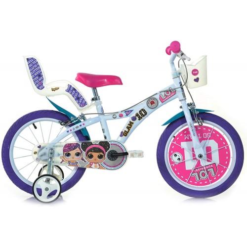 """Bicicletta LOL Surprise da 16"""" per bambini colore viola e rosa"""