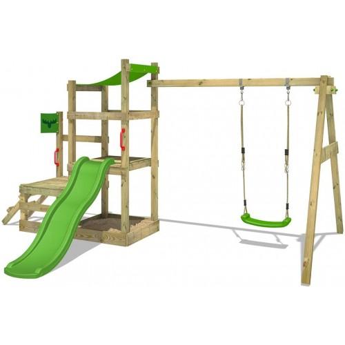Parco giochi in legno con altalena e scivolo