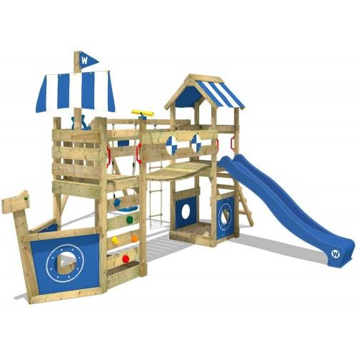 Parco giochi in legno da giardino con altalena e scivolo