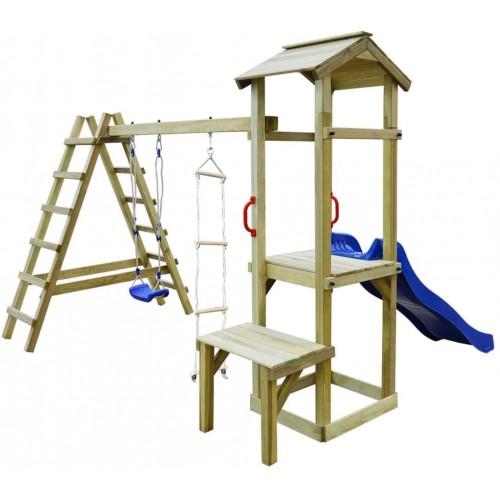 Casetta dei giochi in legno con scivolo e altalena