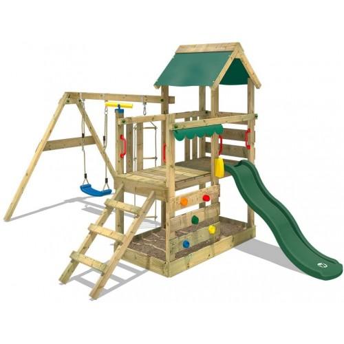 Parco giochi in legno da giardino con altalena e arrampicata con scivolo