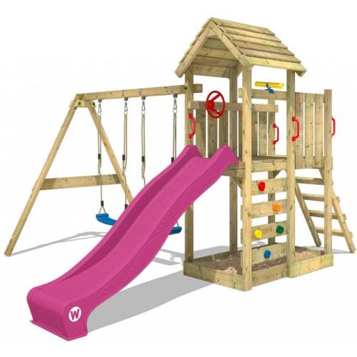 Parco giochi in legno MultiFlyer viola con altalena