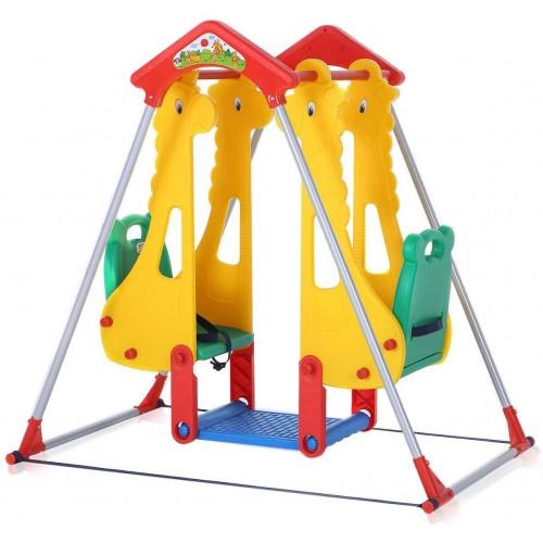 Altalena per parco giochi bambini con seggioloni di sicurezza