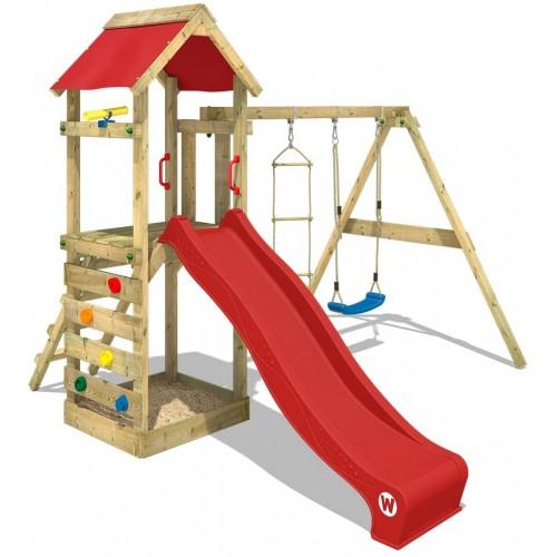 Parco giochi da giardino con scivolo rosso e torre