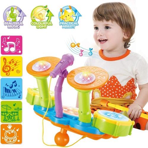 Batteria elettrica giocattolo per bambini con microfono