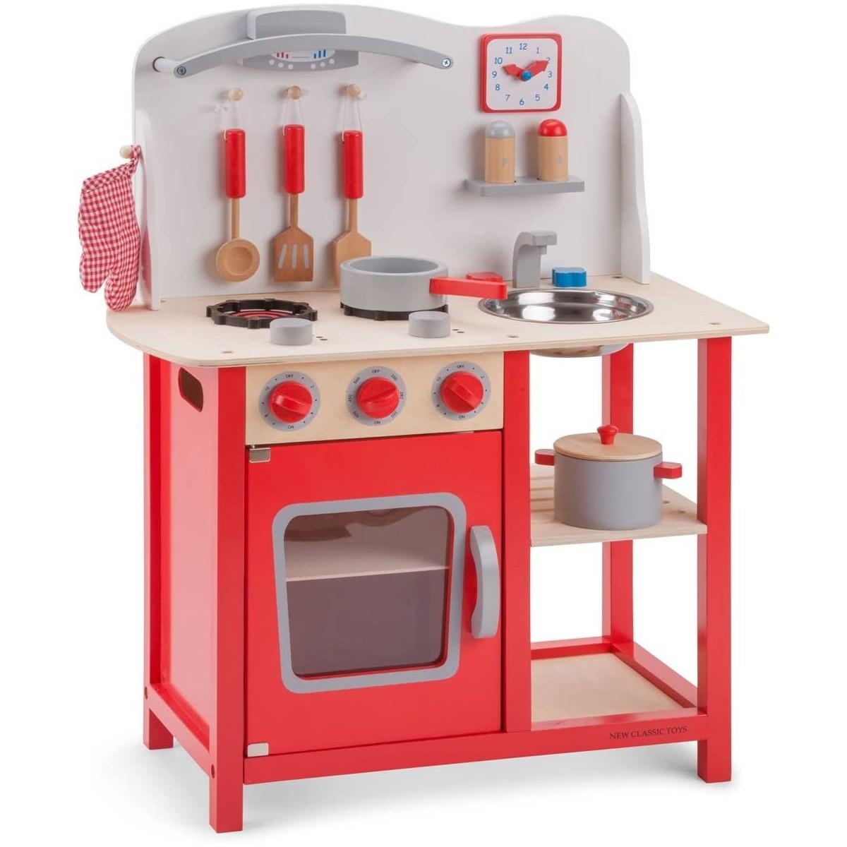 Cucina Stile Classico In Legno Per Bambini Colore Rosso