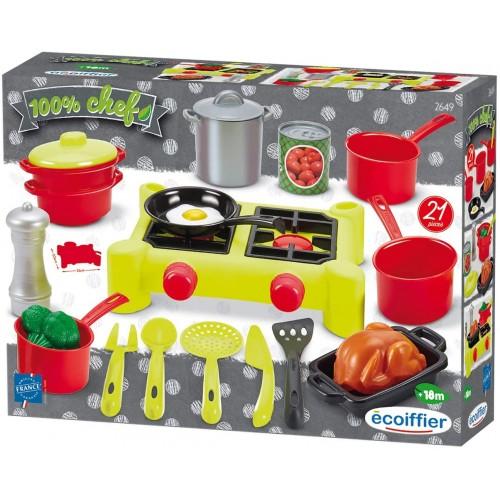 Set giocattoli fornello con pentole e accessori