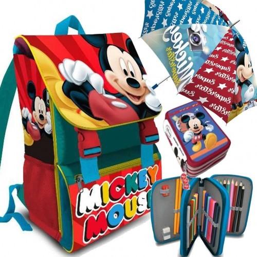 Kit scuola con zaino + astuccio + ombrello Topolino Disney
