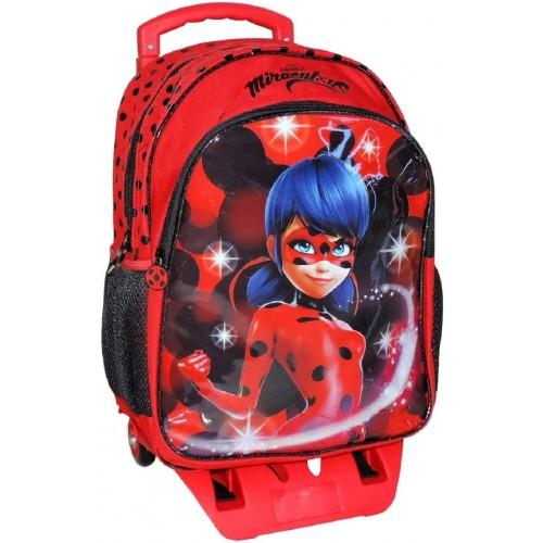 Zaino trolley scuola elementare LadyBug, con carrello staccabile