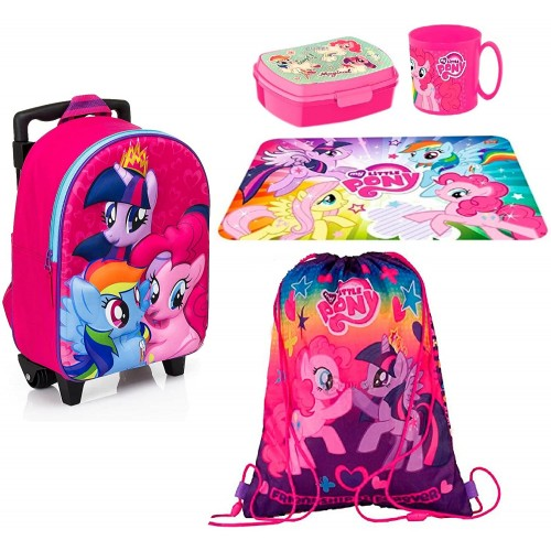 Set scuola My Little Pony, zaino, set merenda e sacca