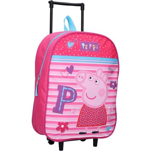 Trolley zaino Peppa Pig Pink, valigetta con carrello