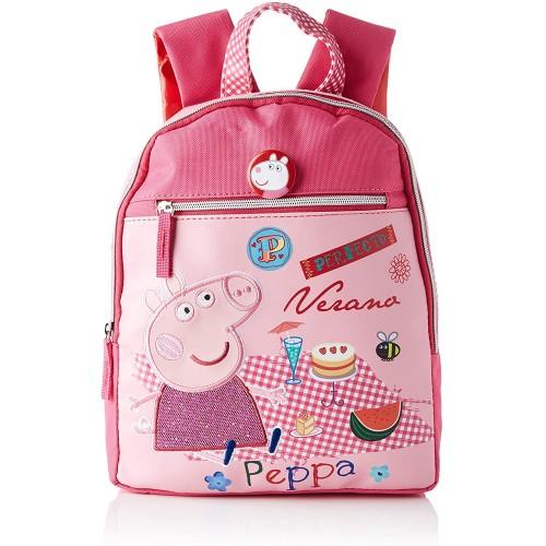 Zaino scuola Peppa Pig rosa con zip