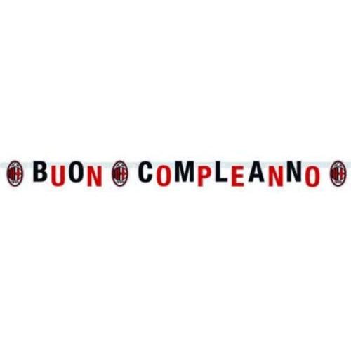 PARTY STORE Festone Milan Buon Compleanno 15 x 215 cm Prodotto Ufficiale
