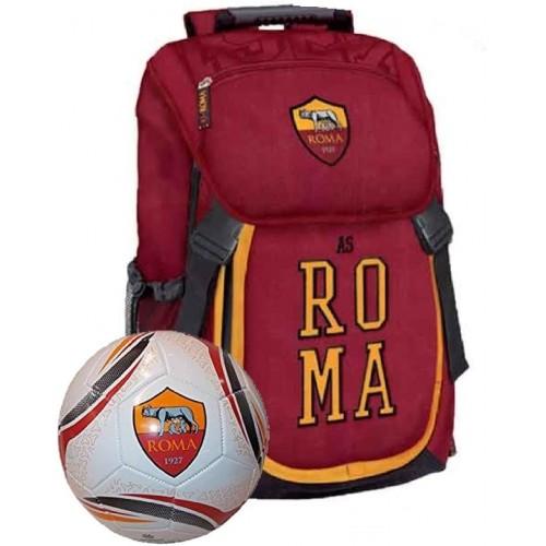 Zaino Scuola AS Roma con Pallone Calcio - Prodotti Ufficiali
