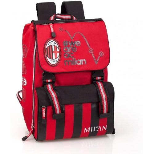 Zaino per la scuola A.C Milan estensibile - Prodotto Ufficiale