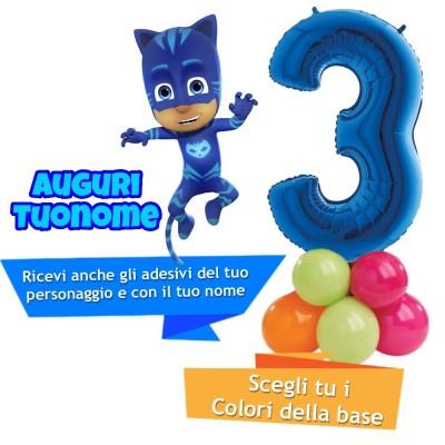 Composizione palloncini con numero PJ Masks