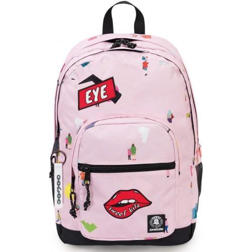 Zaino Invicta Wider Pack colore rosa, mod. Vintage