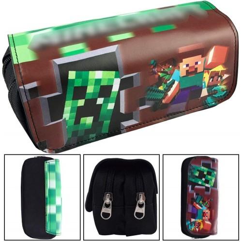 Astuccio borsello Minecraft, con due tasche e chiusura a zip
