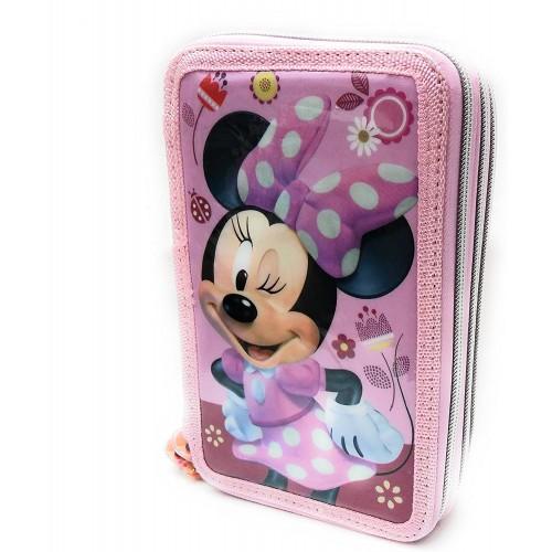 Astuccio Minnie rosa con 3 Zip Originale Disney - con 44 Pezzi