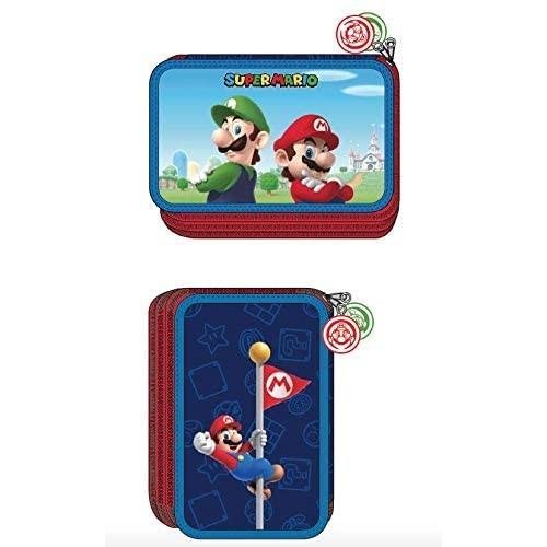 Astuccio Super Mario Bros e Luigi, 3 Zip con 45 Pezzi
