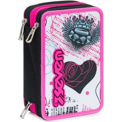Astuccio 3 Zip Seven Shiny Girl, completo di accessori