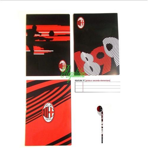 Quaderno A.C Milan Calcio, 3 pezzi , rigatura A + omaggio matita