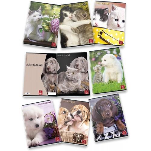 10 Maxi Quaderni a righe, formato A4 Cuccioli - Animali