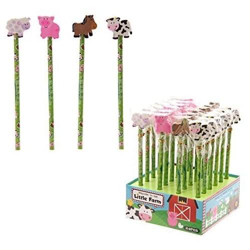 Set 24 matite animali della fattoria con gomma e dispenser
