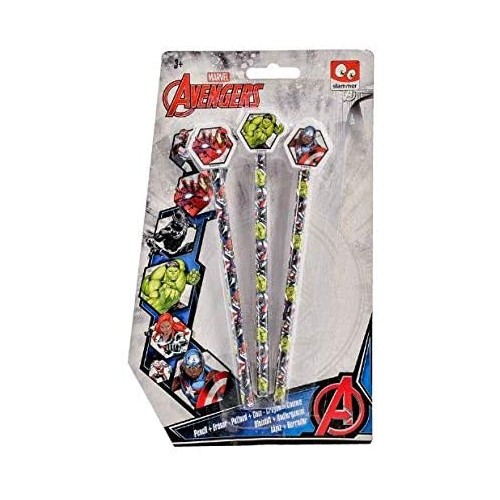 Set 3 matite Avengers - Marvel, idea regalo, scuola