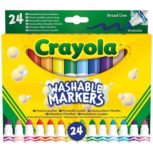 24 Pennarelli lavabili, punta Maxi, Crayola, colori assortiti brillanti e vivaci