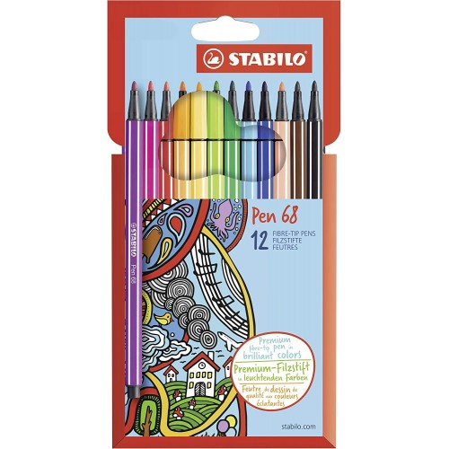 Conf. da 12 Pennarelli Premium - Stabilo Pen 68 - Colori assortiti