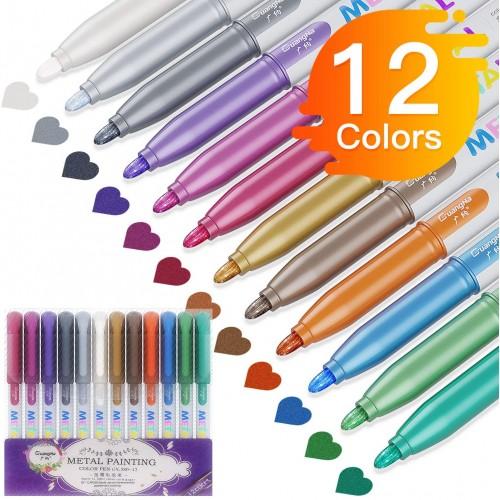 12 Pennarelli - Marcatori Waterproof, colori metallici